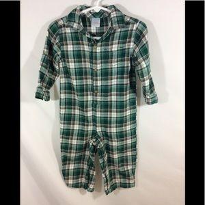 GYMBOREE Outfit Onesie Boys Flannel Plaid 12 18 Mo